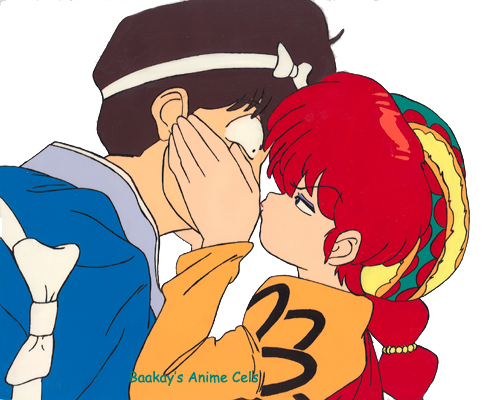 Girl Ranma uses the sword-catching technique on a suitor's face.
